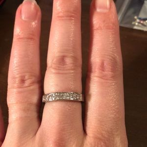 Silver band with simulated diamonds size 9